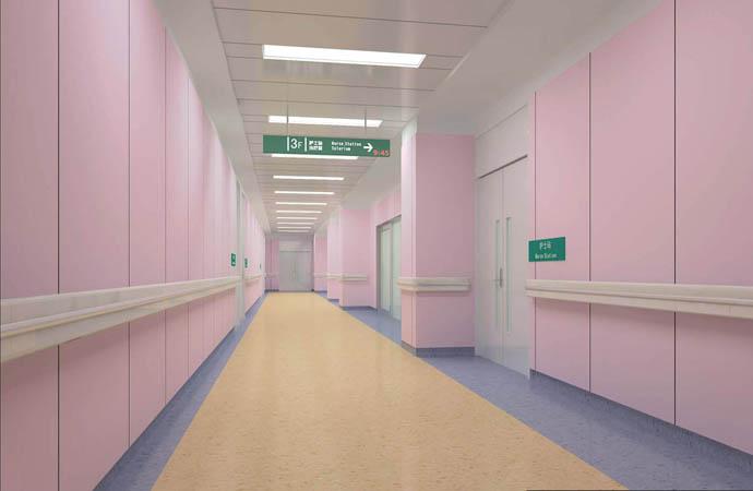 医院妇产科走廊设计; 医院—青岛装饰公司|青岛装修